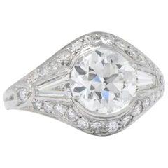 1930's Art Deco 2.95 CTW Diamond Platinum Engagement Ring GIA