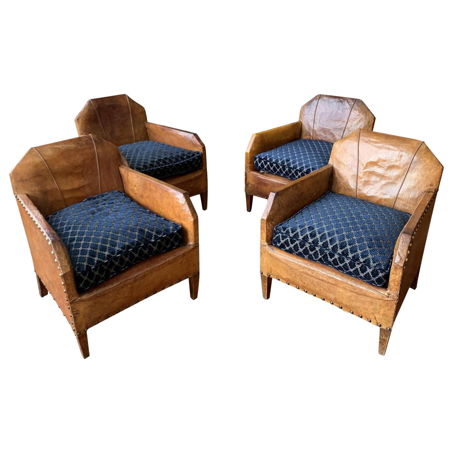 1930s Vintage Art Deco French Leather Club Chairs, Set of 4