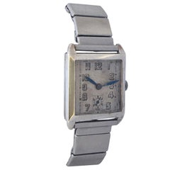1930s Vintage Art Deco Silver Omega Hand-Winding Watch