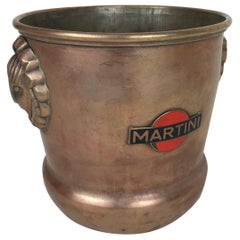 1930s Vintage Brass Italian Ice Bucket Martini with Art Deco Reliefs Made