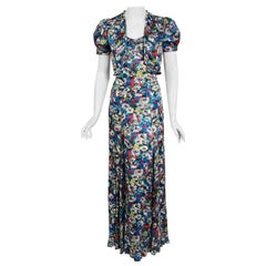 1930's Vintage Colorful Floral Print Silk Bias-Cut Gown & Puff-Sleeve Bolero Set