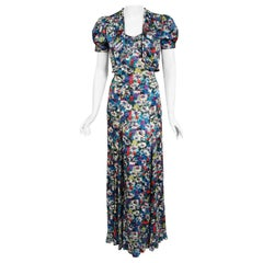 1930's Vintage Colorful Floral Print Silk Bias-Cut Gown & Puff-Sleeve Bolero Set