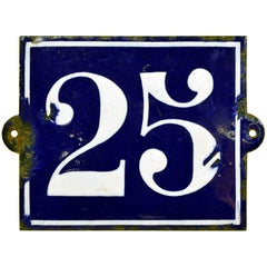 1930s Vintage Dark Blue French Enamel Metal Street Number 25 Sign