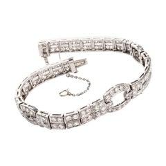 1930s Vintage Deco Style Diamond Platinum Bracelet