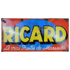 1930s Vintage French Enamel Metal Ricard Pastis Advertising Sign