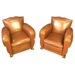 1930s Vintage French Moustache Back Club Chairs, a Pair