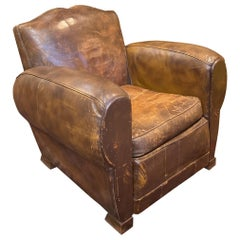 1930s Vintage French Moustache Back Original Leather Club Chair