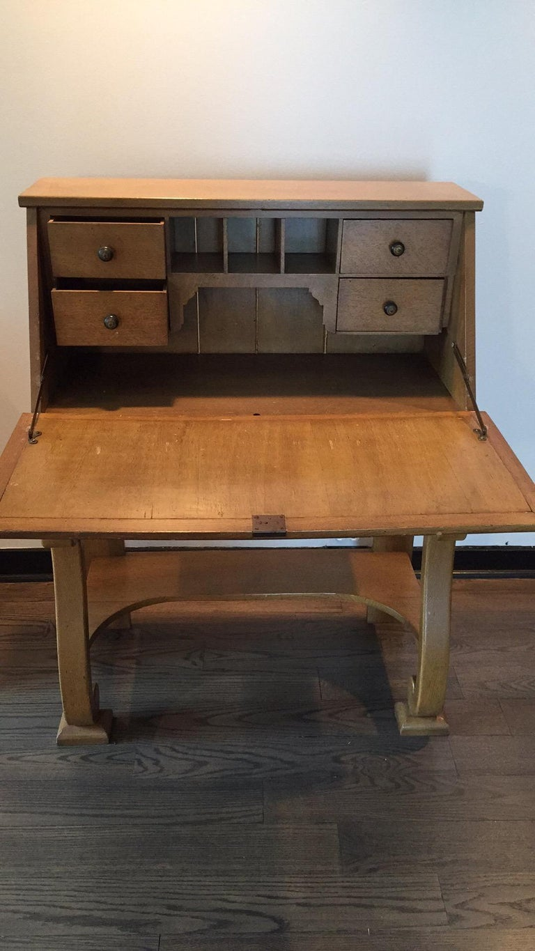 1930s vintage French secretary desk Handmade while our father was overseas in WW2 - the father of an French girlfriend gave this to him and he fell in love  Gorgeous blonde wood, details a plenty  elegant and versatile   Measures: 32 W x 29.5 deep