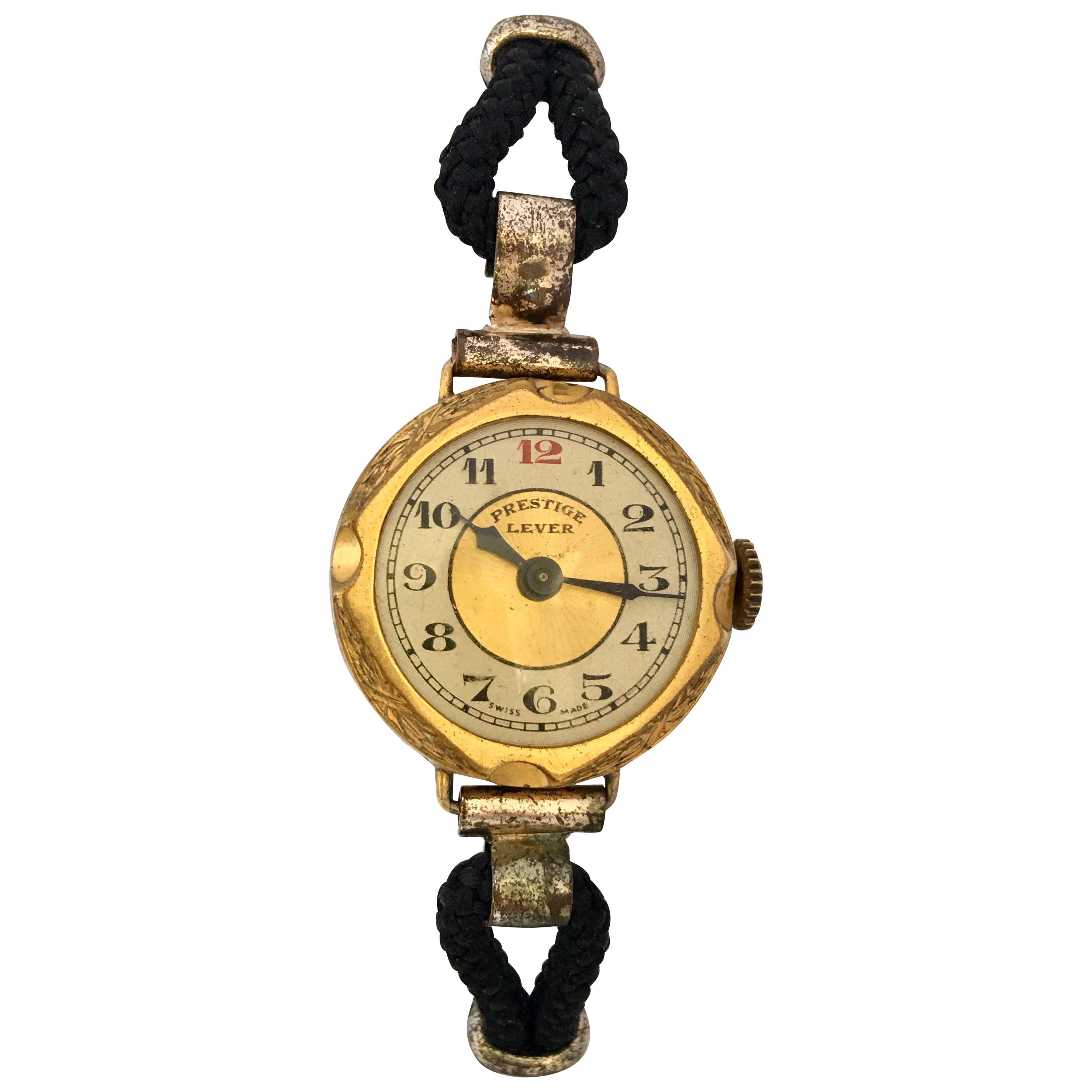 1930s Vintage Gold-Plated Ladies Mechanical Trench Watch
