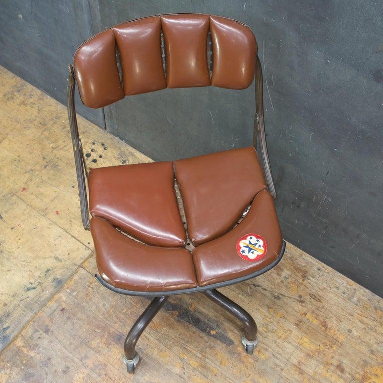 Enameled 1930s Vintage Industrial Brown Vinyl Segmented Swivel Desk Chair Fritz Cross For Sale