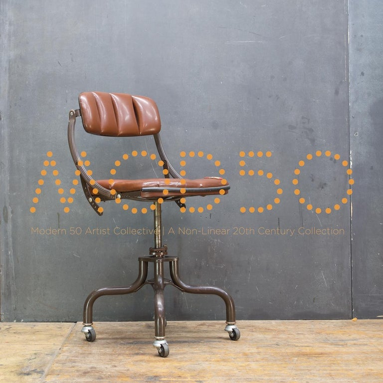 1930s Vintage Industrial Brown Vinyl Segmented Swivel Desk Chair Fritz Cross In Distressed Condition For Sale In Washington, DC