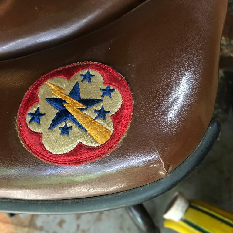 Steel 1930s Vintage Industrial Brown Vinyl Segmented Swivel Desk Chair Fritz Cross For Sale