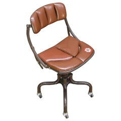1930s Vintage Industrial Brown Vinyl Segmented Swivel Desk Chair Fritz Cross