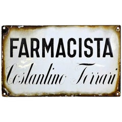 1930s Vintage Italian Enamel Metal Sign Farmacia or Pharmacy Shop