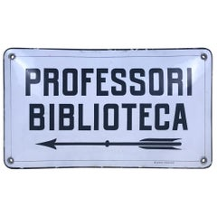 "1930s Vintage Italian Enamel Metal Sign ""Professori Biblioteca"", School Library"