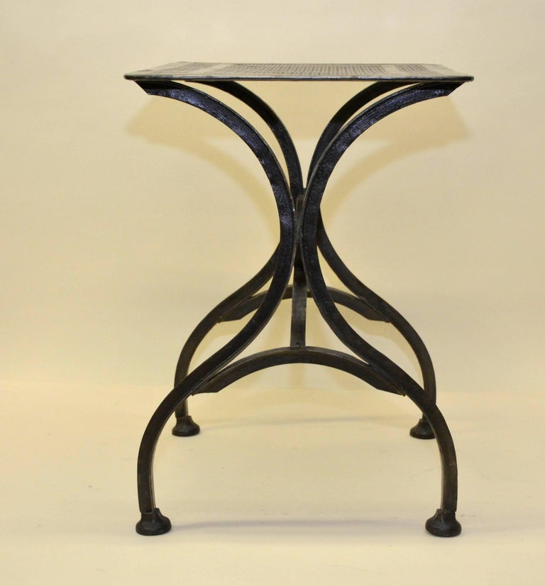 1930s Vintage Italian Stripped Metal Garden Table For Sale 8