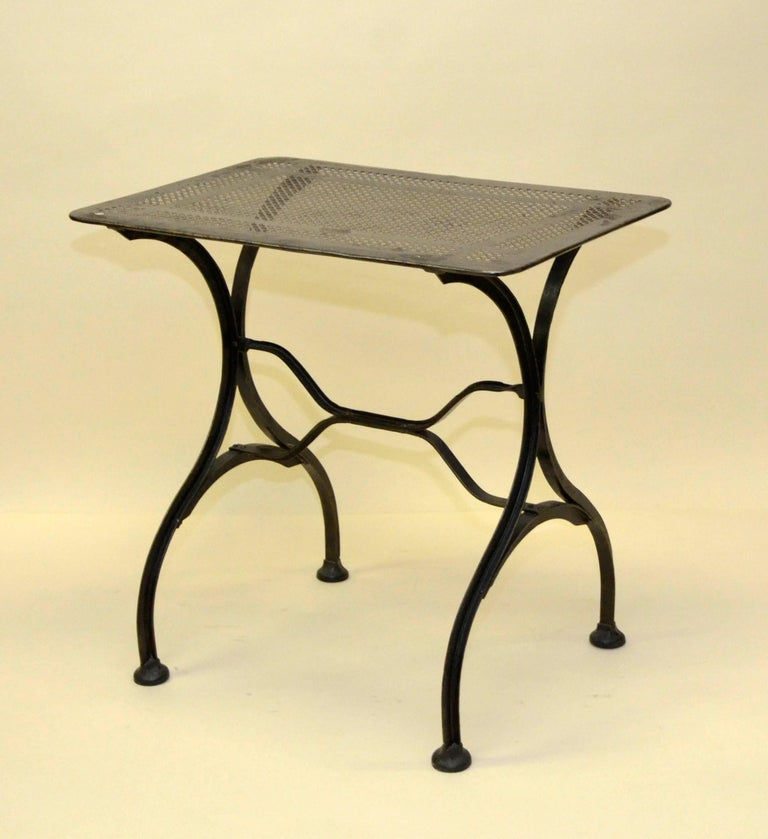 Industrial 1930s Vintage Italian Stripped Metal Garden Table For Sale