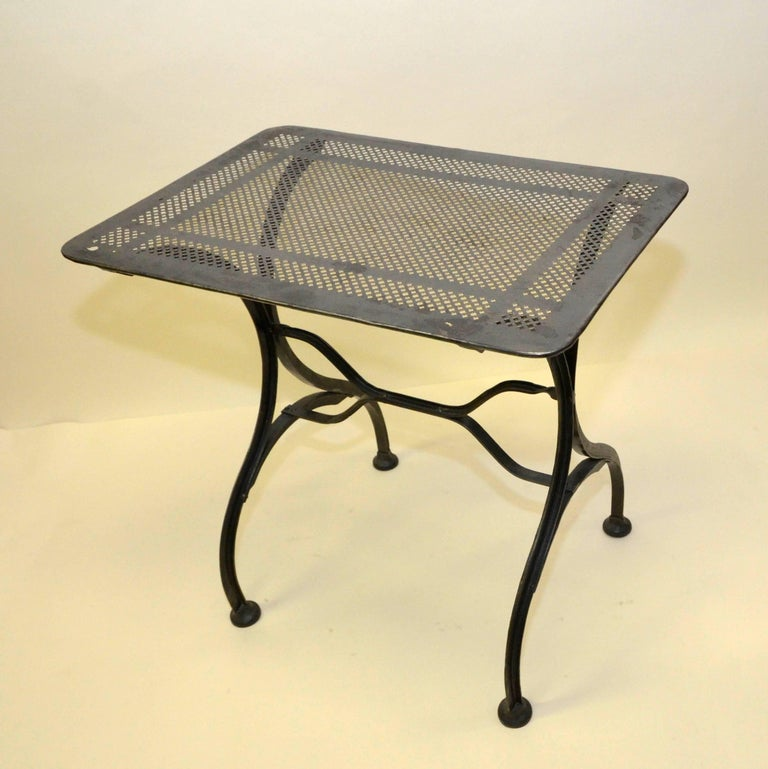 1930s Vintage Italian Stripped Metal Garden Table For Sale 1