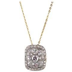 1930s Vintage Old European Cut Diamond Platinum Yellow Gold Pendant Necklace