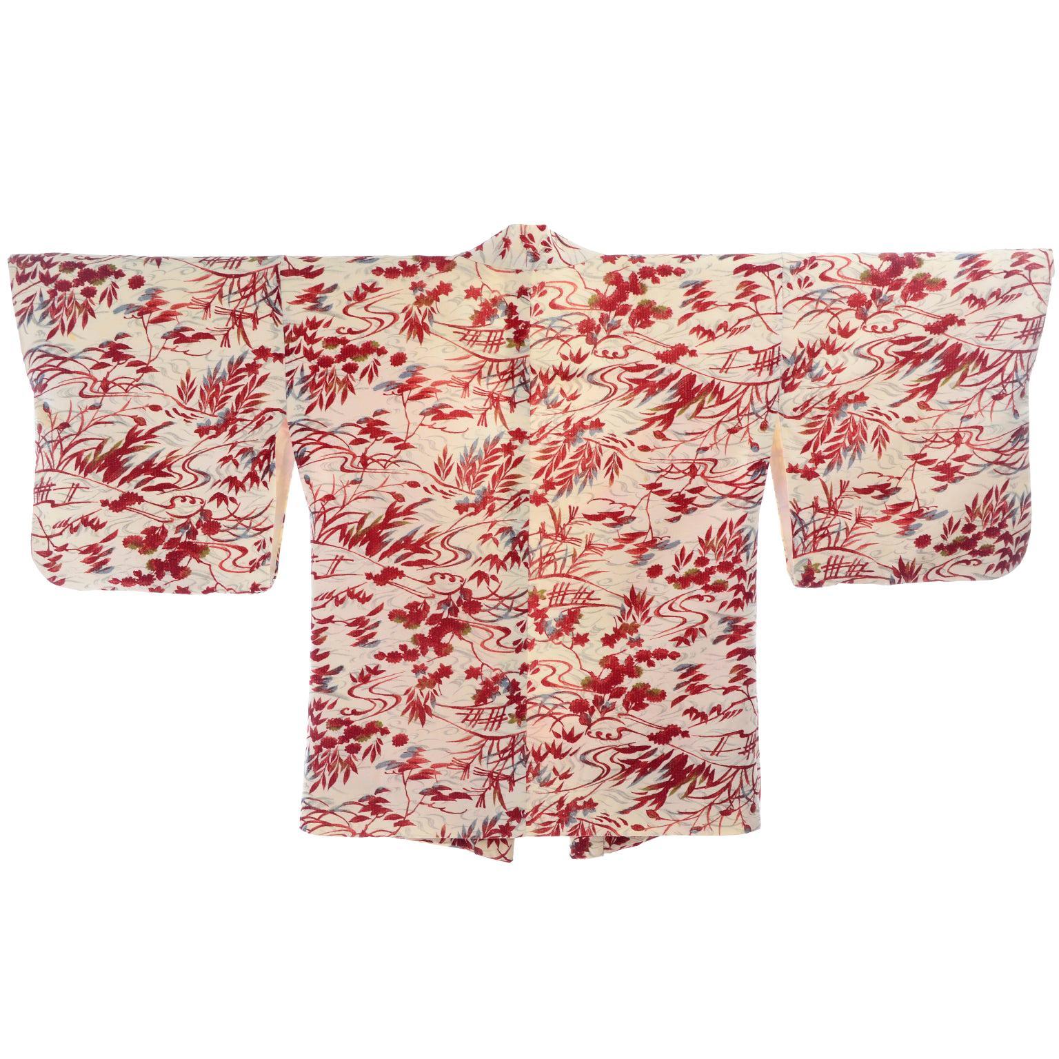 1930s Vintage Red & Cream Haori Silk Kimono Jacket