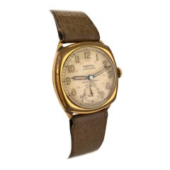 1930s Vintage Rotary24 Super Sports Gold-Plated Cushion Military Watch