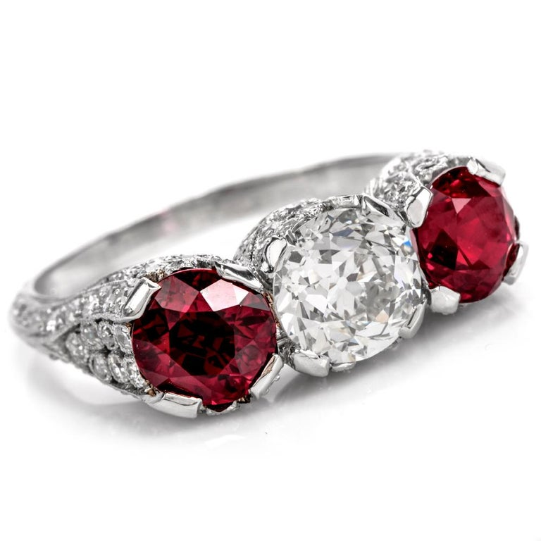 Women's or Men's 1930s Vintage Ruby Diamond Three-Stone Platinum Three-Stone Ring For Sale