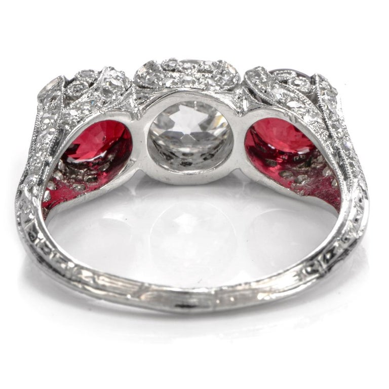 1930s Vintage Ruby Diamond Three-Stone Platinum Three-Stone Ring For Sale 2