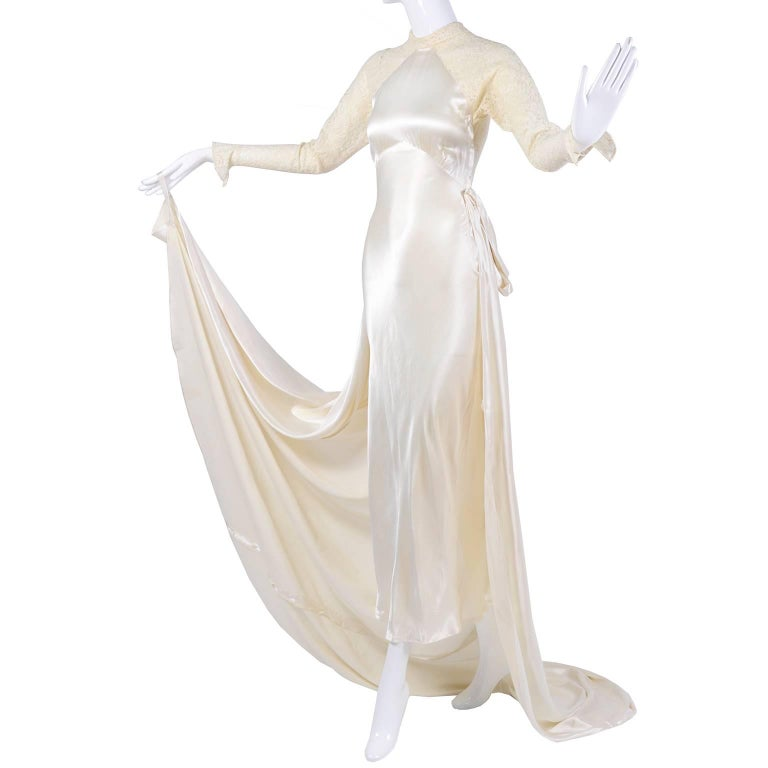 Wedding Gown Vintage Dress In Champagne Silk Satin With