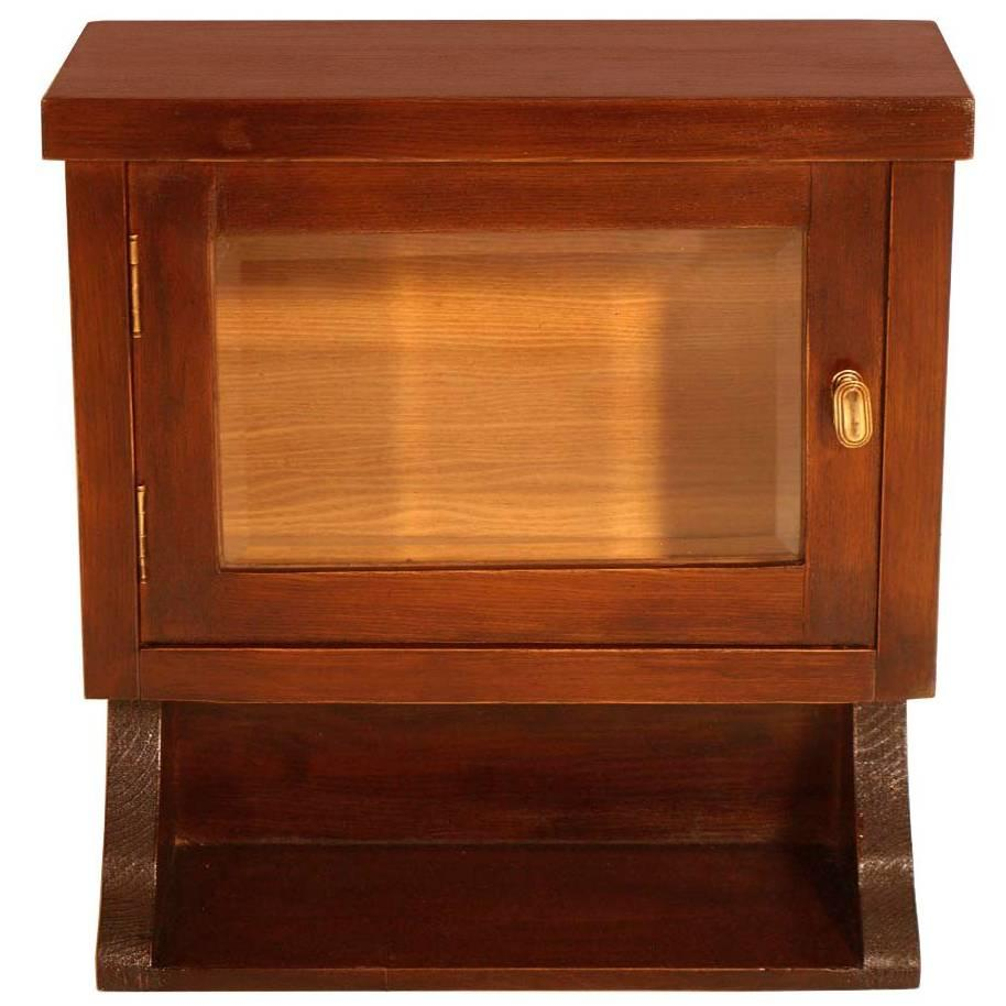 1930s Wall Art Deco Display or Apothecary Cabinet in Solid Oak Wax-Polished