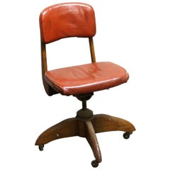 1930s Walnut Frame Desk Rolling Chair with Red Leatherette