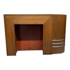 1930s Walnut Streamline Art Deco Mantel