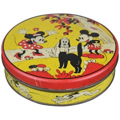 1930s Walt Disney Tin with Mickey Mouse, Minnie Mouse, Pluto and Cat