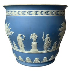 Large 1930s Wedgwood Light Blue Neoclassical Jasperware Flower Pot
