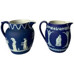 1930s Wedgwood Neoclassical Dark Blue Jasperware Pitchers, Set of 2