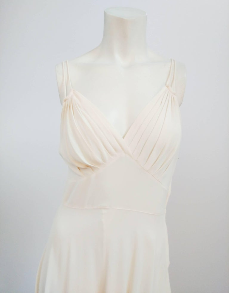 1930s White Double Strap Dress. Gathered bust cups with inverted basque waist. Double shoulder straps. Zips up side. Crepe fabric.