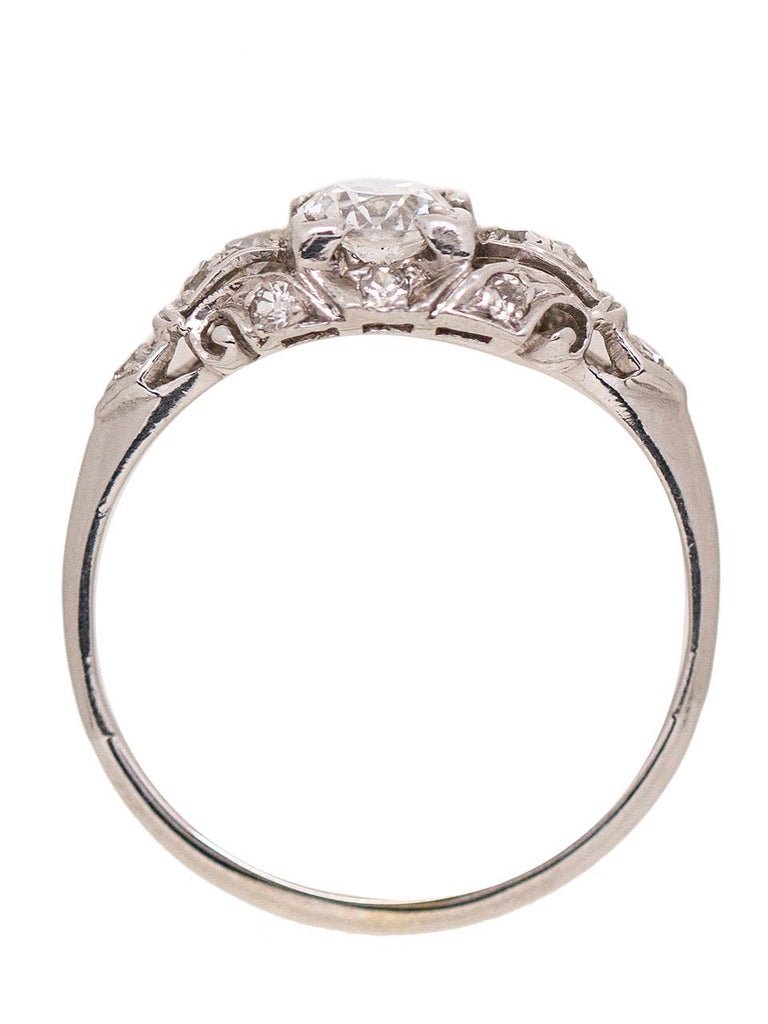 1930s White Gold and Diamond Engagement Ring 0.46 Carat Old European Cut In Excellent Condition For Sale In West Hollywood, CA