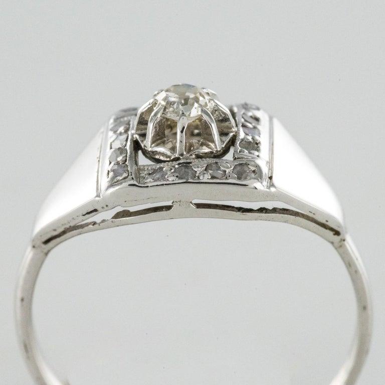 1930s White Gold Platinum Diamond Art Deco Ring For Sale 6
