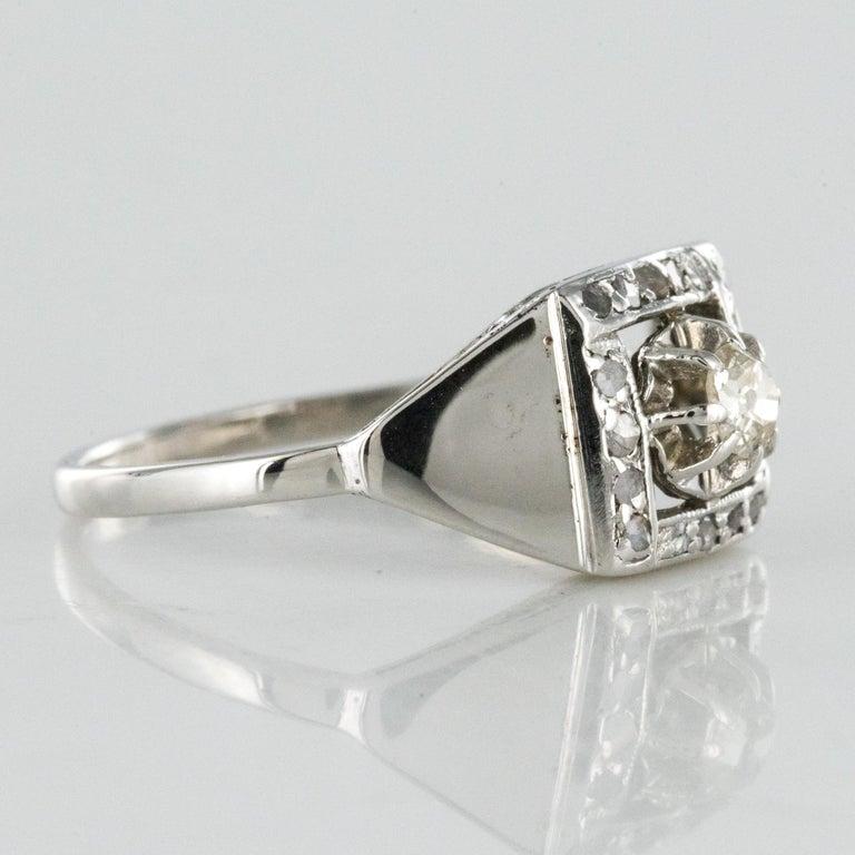 1930s White Gold Platinum Diamond Art Deco Ring For Sale 7