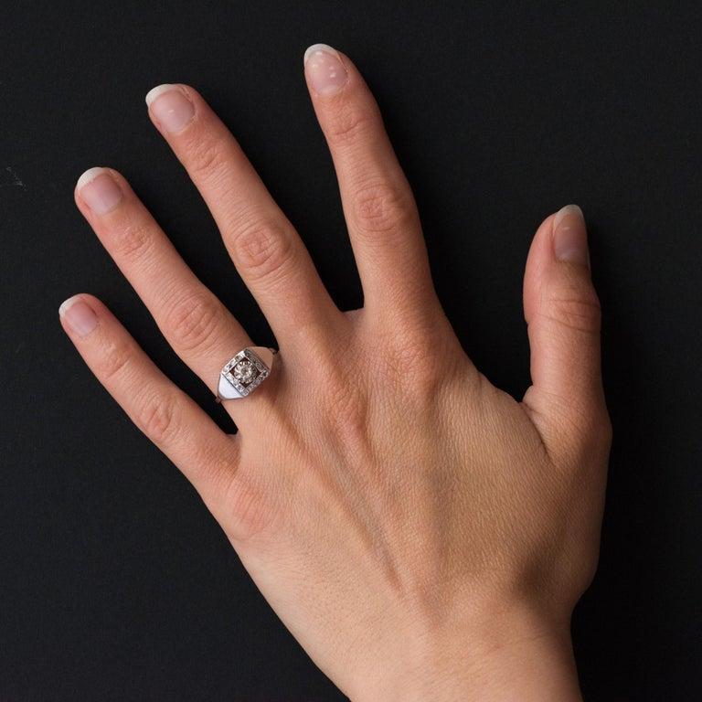 1930s White Gold Platinum Diamond Art Deco Ring For Sale 8