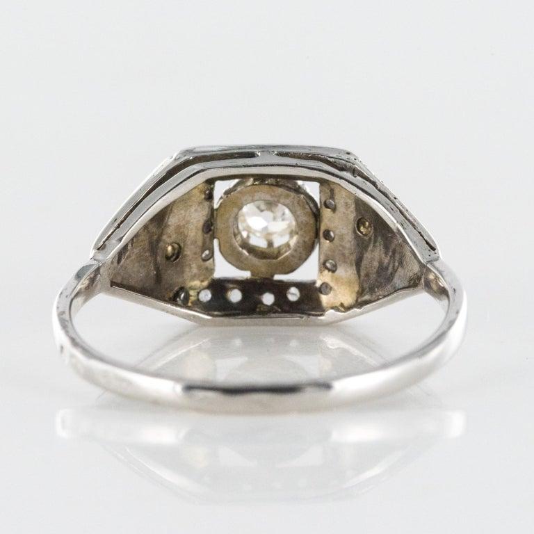 1930s White Gold Platinum Diamond Art Deco Ring For Sale 9