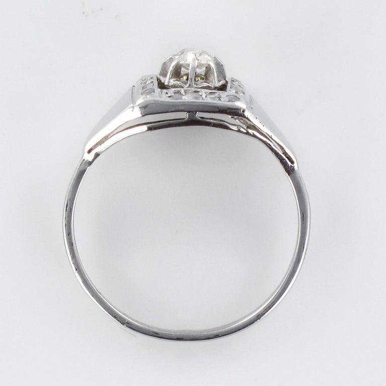 1930s White Gold Platinum Diamond Art Deco Ring For Sale 10
