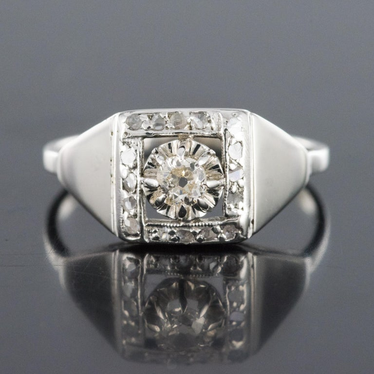 1930s White Gold Platinum Diamond Art Deco Ring In Fair Condition For Sale In Poitiers, FR