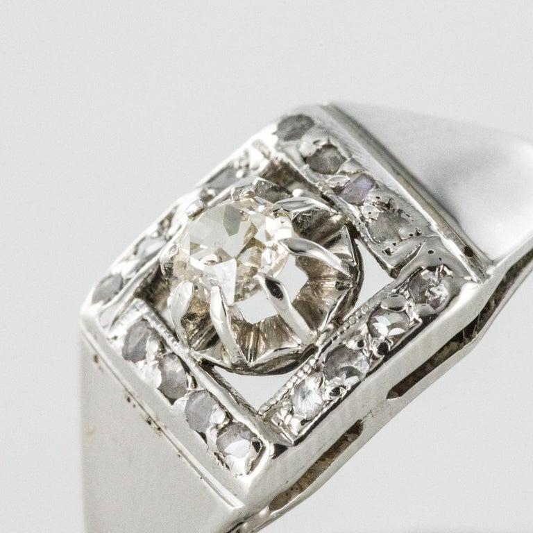 Women's 1930s White Gold Platinum Diamond Art Deco Ring For Sale