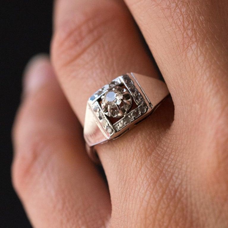 1930s White Gold Platinum Diamond Art Deco Ring For Sale 1