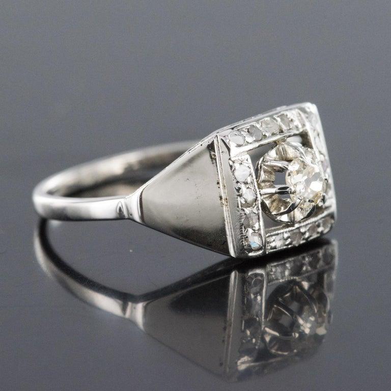 1930s White Gold Platinum Diamond Art Deco Ring For Sale 3