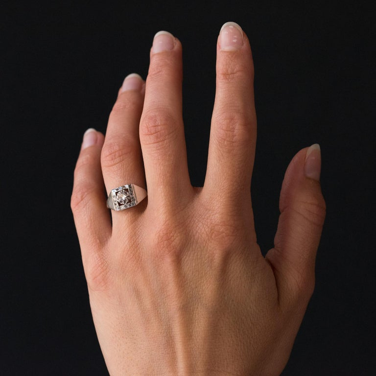 1930s White Gold Platinum Diamond Art Deco Ring For Sale 4