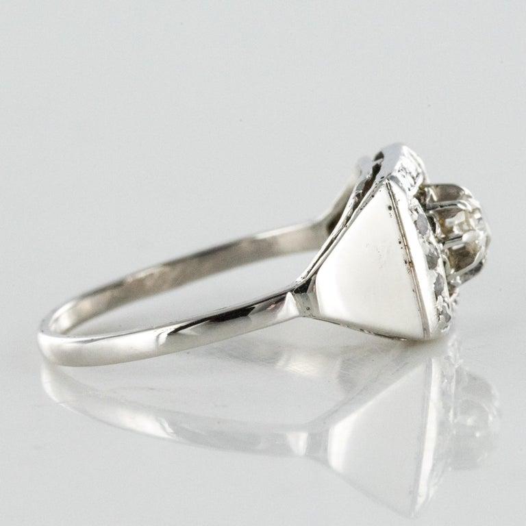 1930s White Gold Platinum Diamond Art Deco Ring For Sale 5