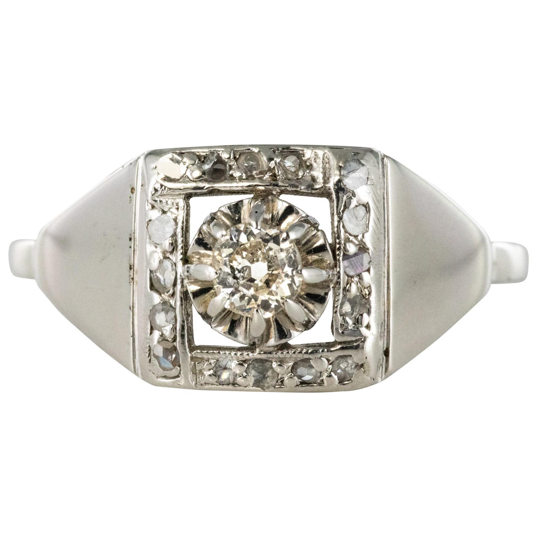1930s White Gold Platinum Diamond Art Deco Ring