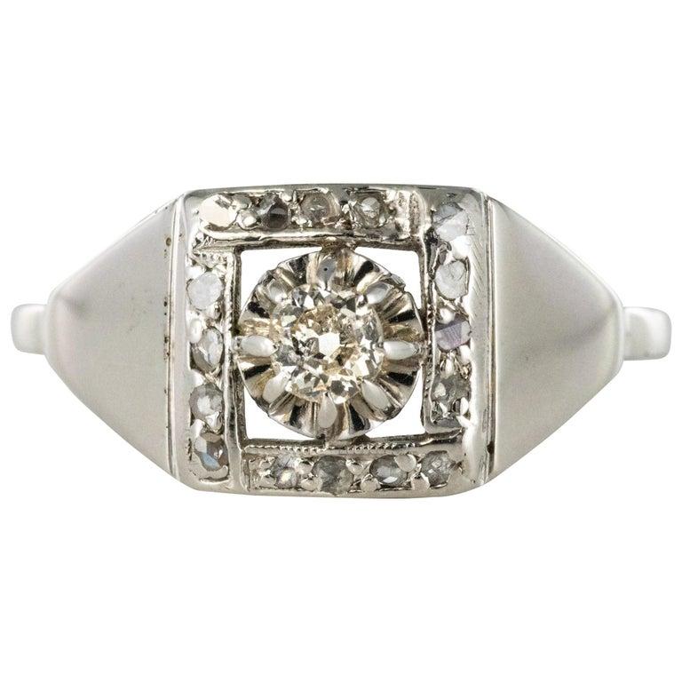 1930s White Gold Platinum Diamond Art Deco Ring For Sale