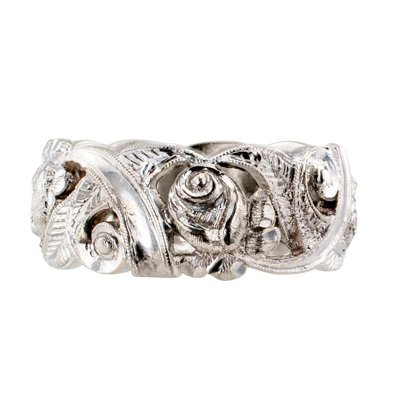 Art Deco 1930s White Gold Wedding Ring Band For Sale
